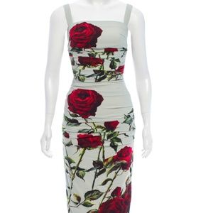 DOLCE & GABBANA Ruched Rose Print Dress